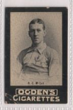 Cigarette insert card of famous sportsman R.C. McColl.